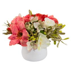 Charleston Pink & White Amaryllis Faux-Floral Bouquet