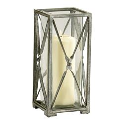 Large Antique Moss Gray Wash Wrought Iron Square Candle Lantern | CYAN-04289