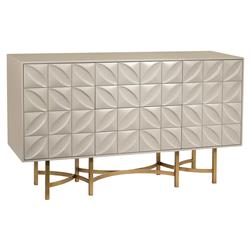 John Richard Modern Classic Ghost White Petal Bronze Metal Base Credenza