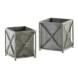 Set of 2 Sheldon Gray Wash Wrought Iron Rustic Square Planters