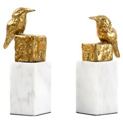Avis Hollywood Regency Gold Marble Bird Statue - Set of 2