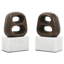 Bungalow 5 Delphi Global Bazaar Bronze White Marble Bookends
