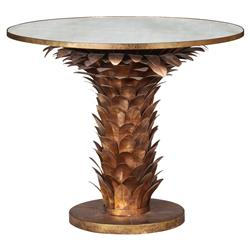 Allegra Hollywood Regency Gold Laurel Leaf Round Dining Table