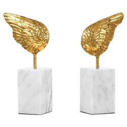 Little Wings Hollywood Regency Gold Marble Sculpture - Set of 2