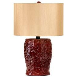 Parsons Dark Ox Blood Red Ceramic Table Lamp Wood Shade | CYAN-04381
