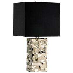 Java Masculine Chunky Silver Square Table Lamp | CYAN-04385