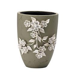 Large Sculpted Ivory Flower Ceramic Applique Outdoor Planter | CYAN-04427