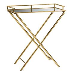 Hollywood Regency Gold Leaf  Bamboo Mirrored Tray Table | CYAN-04445