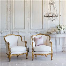 French Country Style Pair of Vintage Bergere Armchairs:1948 | Kathy Kuo Home
