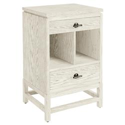 Camilla Coastal Beach White Wood Nightstand | Kathy Kuo Home