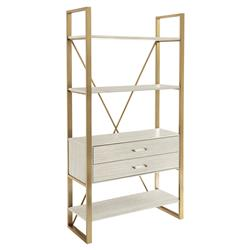 Arielle Modern Classic Brass Finished Bookcase | Kathy Kuo Home