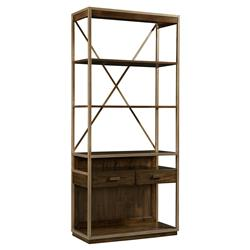 Dallas Modern Classic Walnut Weathered Bronze Bookcase | Kathy Kuo Home