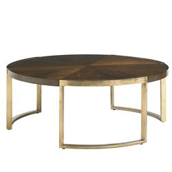 Chantal Modern Classic Walnut Gold Leaf Cocktail Table | Kathy Kuo Home