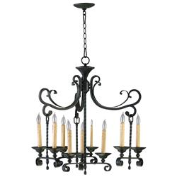 Surrey Old English Wrought Iron European Style 9 Light Chandelier | CYAN-04632