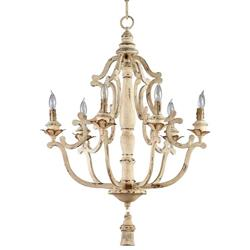 Maison French Country Antique White  6 Light Chandelier