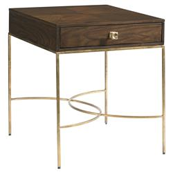 Oliver Modern Classic Veneer Patterned Metal End Table | Kathy Kuo Home