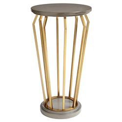Molly Modern Circular Wood Gold Leaf End Table | Kathy Kuo Home