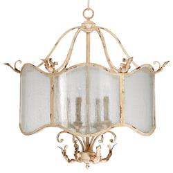 Maison French Country Antique White  4 Light Nook Chandelier