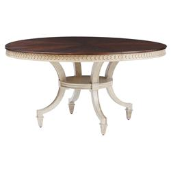 Annie Walnut Ivory Round Pedestal Dining Table | Kathy Kuo Home