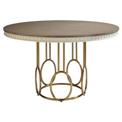 Alexis Modern Classic Round Birch and Gold Dining Table | Kathy Kuo Home