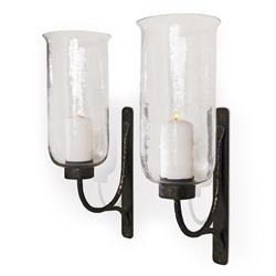 Pescara Contemporary Rustic Iron and Glass Candle Sconces | 524220