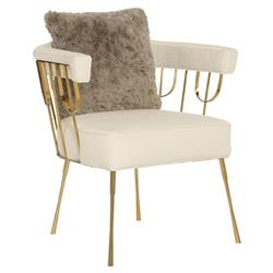 Ingrid Hollywood Regency Metallic Gold Crème Upholstered Chair