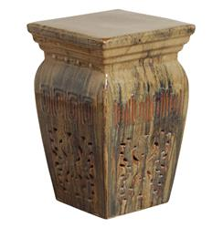 Toffee Southwestern Red Beige Brown Pierced Ceramic Garden Stool Seat | EM-0641TF