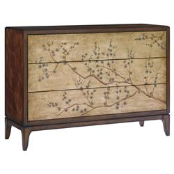 Caracole Awesome Blossom Chinoiserie Cherry Blossom Rich Mahogany Sideboard