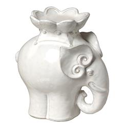 "White Ceramic Elephant Candle Stand- 9""H 
