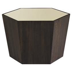Caracole WhatS Your Point Modern Classic Gold Mirror Top Eucalyptus Hexagonal Coffee Table