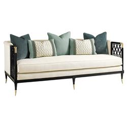 Swanson Midnight Black Latticed Brass Plated Sofa