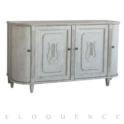 Eloquence® Lyre Sideboard in Mineral Grey Finish | Kathy Kuo Home