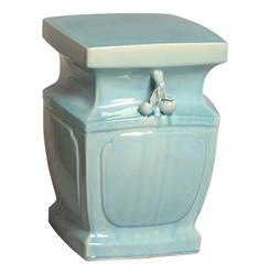 Double Peach Light Blue Coastal Beach Asian Inspired Garden Stool Seat | EM-08067PB