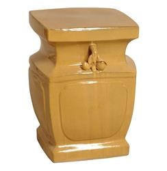 Double Peach Yellow Orange Asian Inspired Garden Stool Seat | EM-08067YF