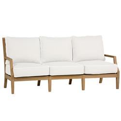 Summer Classics Haley French Country White Cushion Brown Teak Wood Sofa