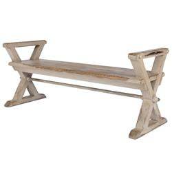 Rougie French Country Rustic X Brace Pine Bench