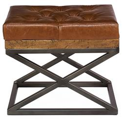 Thomas Modern Classic Brown Leather Cushion Bench