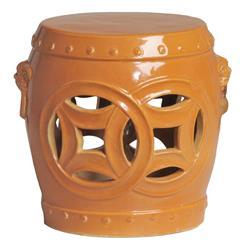 Double Fortune Tangerine Orange Pierced Asian Garden Seat Stool