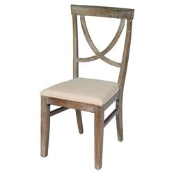 Mylene French Country Beige Upholstered Seat Whitewashed Oak Dining Room Chair