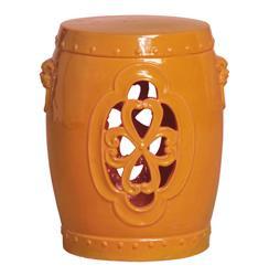 Orange Pierced Clover Ceramic Asian Garden Stool