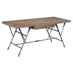 Cassius Industrial Loft Oak Wrought Iron Single Drawer Desk