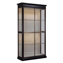 Rennes French Country Classic High Gloss Black Glass Walnut Etagere