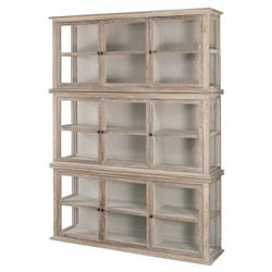Agathe French Country Rustic Oak Glass Vitrine