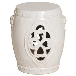 White Pierced Clover Ceramic Asian Garden Stool | EM-0934WT