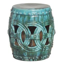 Pierced Linked Green Fortune Asian Ceramic Garden Seat Stool | EM-0936AG