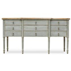 Stella French Country Grey Reclaimed Pine 9 Drawer Buffet Sideboard