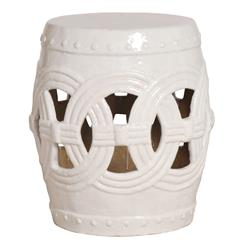 White Pierced Linked Fortune Asian Ceramic Garden Seat Stool | EM-0936WT