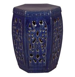Hexagon Pierced Ceramic Garden Stool- Navy Blue Glaze
