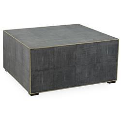 Marguerite Modern Classic Antique Grey Leather Square Block Coffee Table