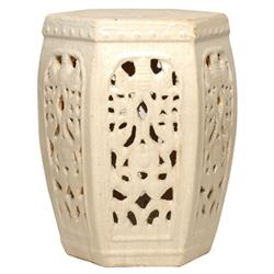 Hexagon Pierced Ceramic Garden Stool- Champagne Antique White Glaze | EM-0948CG